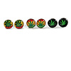 7mm Set of 3 Tiny Marijuana Leaf Rasta Colours Stud Earrings In Silver Tone