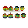 7mm Set of 4 Tiny Marijuana Leaf Rasta Colours Stud Earrings In Silver Tone