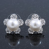 Prom/ Teen Simulated Glass Pearl, Crystal 'Daisy' Stud Earrings In Rhodium Plating - 15mm Diameter