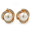 Bridal Diamante White Simulated Glass Pearl Clip On Earrings In Gold Plating - 23mm Diameter