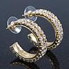 Medium Two Row Crystal Hoop Earring In Gold Plating - 30mm Diameter