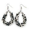 Handmade Glass Bead Oval Drop Earrings In Silver Tone (Black, Hematite, White, Transparent) - 60mm Length