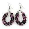 Handmade Glass Bead Oval Drop Earrings In Silver Tone (Purple, Pink, Brown) - 60mm Length