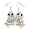 Clear Diamante 'Owl' Drop Earrings In Rhodium Plating - 4.5cm Length