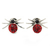 Small Red Crystal 'Spider' Stud Earrings In Silver Plating - 12mm Across
