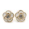 Children's/ Teen's / Kid's Tiny White Enamel 'Rose' Stud Earrings In Gold Plating - 8mm Diameter