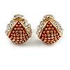 Children's/ Teen's / Kid's Small Red Enamel Crystal 'Ladybug' Stud Earrings In Gold Plating - 10mm Length