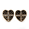 Children's/ Teen's / Kid's Small Black Enamel Crystal 'Heart' Stud Earrings In Gold Plating - 10mm Length