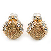 Children's/ Teen's / Kid's Small Crystal 'Ladybug' Stud Earrings In Gold Plating - 10mm Length