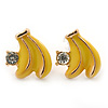 Children's/ Teen's / Kid's Small Yellow Enamel 'Banana' Stud Earrings In Gold Plating - 11mm Length