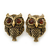Vintage Inspired 'Owl' Stud Earrings In Antique Gold Plating - 28mm Length
