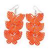 Neon Orange Lightweight Filigree Triple Butterfly Drop Earrings In Silver Tone - 75mm Length