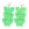 Neon Green Lightweight Filigree Triple Butterfly Drop Earrings In Silver Tone - 75mm Length