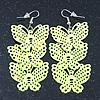 Neon Yellow Lightweight Filigree Triple Butterfly Drop Earrings In Silver Tone - 75mm Length