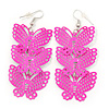 Neon Pink Lightweight Filigree Triple Butterfly Drop Earrings In Silver Tone - 75mm Length