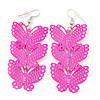 Neon Pink Lightweight Filigree Triple Butterfly Drop Earrings In Silver Tone - 75mm Length