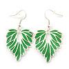 Rhodium Plated Green Enamel 'Leaf' Drop Earrings - 45mm Length