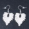 Rhodium Plated White Enamel 'Leaf' Drop Earrings - 45mm Length