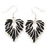 Rhodium Plated Black Enamel 'Leaf' Drop Earrings - 45mm Length