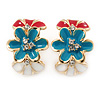 Pink/ Light Blue/ White Crystal Floral Clip On Earrings In Gold Plating - 22mm Length