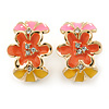 Pink/ Orange/ Yellow Crystal Floral Clip On Earrings In Gold Plating - 22mm Length