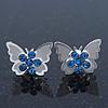 Teen Rhodium Plated Sky Blue Crystal 'Butterfly' Stud Earrings - 15mm Width