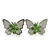 Teen Rhodium Plated Light Green Crystal 'Butterfly' Stud Earrings - 15mm Width