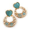 Light Blue Heart & Flower Diamante Hoop Earring In Gold Plating - 30mm Length