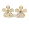 Transparent Off White Acrylic 'Daisy' Stud Earrings In Gold Plating - 25mm Diameter