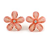 Light Pink Acrylic 'Daisy' Stud Earrings In Gold Plating - 25mm Diameter