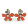 Coral Enamel Diamante 'Daisy' Clip On Earrings In Rhodium Plating - 25mm Diameter