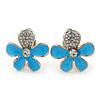 Light Blue Enamel Diamante 'Daisy' Clip On Earrings In Rhodium Plating - 25mm Diameter