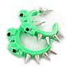 Teen Skulls and Spikes Small Hoop Earrings in Neon Green (Silver Tone) - 30mm Width