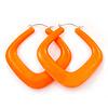 Large Matte Acrylic Square Doorknocker Hoop Earrings in Neon Orange - 6cm Diamete