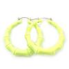 Medium Sized Bamboo Textured Doorknocker Hoop Earrings in Neon Yellow - 5cm Diameter