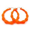 Medium Sized Bamboo Textured Doorknocker Hoop Earrings in Neon Orange - 5cm Diameter