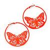 Neon Orange Filigree Butterfly Metal Hoop Earrings - 6cm Diameter
