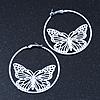 White Filigree Butterfly Metal Hoop Earrings - 6cm Diameter