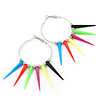 Large Multicoloured Spiky Hoop Earrings In Silver Plating - 8cm Length
