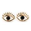 Teen Gold Plated 'Eyes' With Black Crystal Stud Earrings - 14mm Width