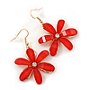 Red Acrylic 'Daisy' Drop Earrings In Gold Plating - 50mm Length