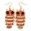 Orange Enamel 'Owl' Drop Earrings In Gold Plating - 7cm Length