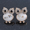 Funky White Enamel Crystal 'Owl' Stud Earrings In Gold Plating - 18mm Length