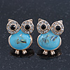 Funky Light Blue Crystal 'Owl' Stud Earrings In Gold Plating - 18mm Length