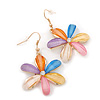 Multicoloured Acrylic 'Daisy' Drop Earrings In Gold Plating - 50mm Length