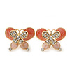 Coral/ Pink Enamel Diamante Double Butterfly Stud Earrings In Gold Plating - 25mm Width