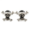 Teen Black/ White Enamel 'Skull & Crossbones' Stud Earrings In Rhodium Plating - 20mm Width