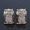Clear Crystal Black Enamel 'Owl' Stud Earrings In Gold Plating - 18mm Length