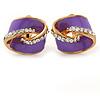 Purple Enamel, Crystal Knot Clip On Earrings In Gold Tone - 15mm L