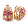 C-shape Crystal, Pink Enamel Floral Clip On Earrings In Gold Tone - 16mm L